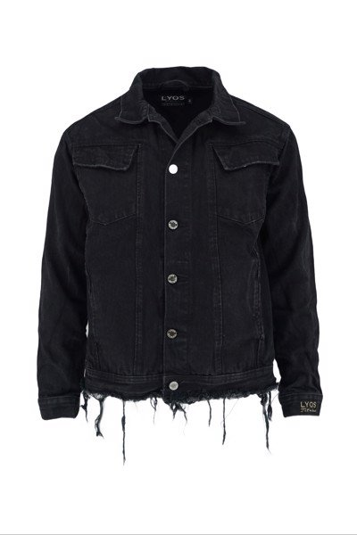 Black Whiskering Denim Jacket (D08)