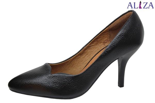 Giày cao gót da bò màu đen