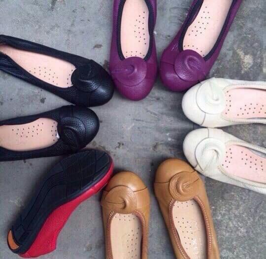 Giày bệt chun chất liệu da bò