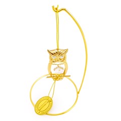 24k Gold Plated Owl Ornament w/Clear Swarovski Element Crystal