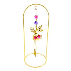 24k Gold Plated Angel w/Heart Hanging Charm Ornament w/Red Swarovski Element