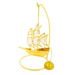 24k Gold Plated Sailboat Ornament w/Clear Swarovski Element Crystal