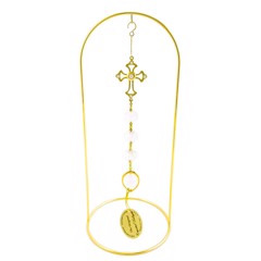 24k Gold Plated Cross Hanging Charms Ornament w/Clear Swarovski Element Crystal