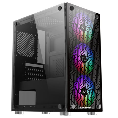 XIGMATEK NYX 3F (EN43057) - M-ATX, 2 SIDE TEMPERED GLASS, KÈM 03 FAN XIGMATEK X9
