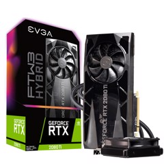 EVGA GeForce RTX 2080 TI FTW3 ULTRA HYBRID GAMING, 11G-P4-2484-KR, 11GB GDDR6, RGB LED Logo, iCX2 Technology, Metal Backplate