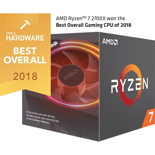 AMD Ryzen 7 2700X có tản LED RGB Wraith Prism (8-core/16-thread, 3.7GHz-4.35GHz, 20MB, 105W TDP