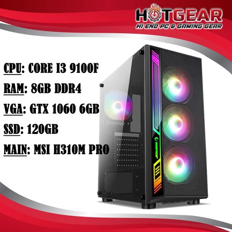 Hotgear Pc Core I3 9100F / DDR4 8G / Gtx 1060 6GB / Ssd 120GB