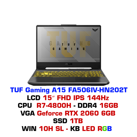 LAPTOP GAMING ASUS TUF A15 FA506IV-HN202T RTX 2060 6GB RYZEN 7-4800H 16GB 1TB 15.6″ FHD IPS 144HZ FORTRESS GRAY RGB