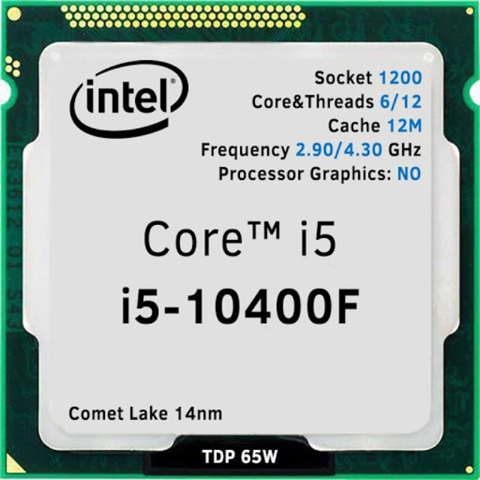 Intel Core i5 10400F (2.90 Up to 4.30GHz, 12M, 6 Cores 12 Threads) TRAY chưa gồm Fan (Không GPU)