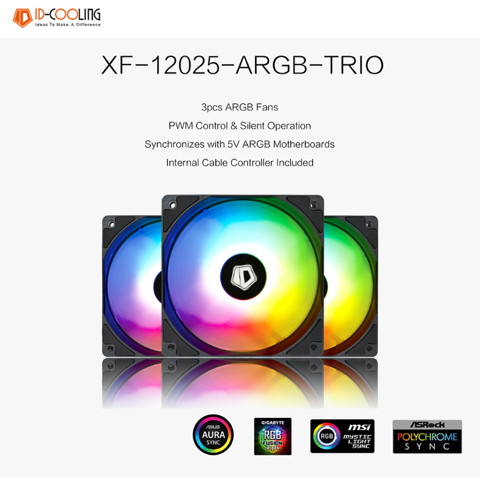 Fan Id Cooling Xf-12025-ARGB Trio 3Pcs Pack