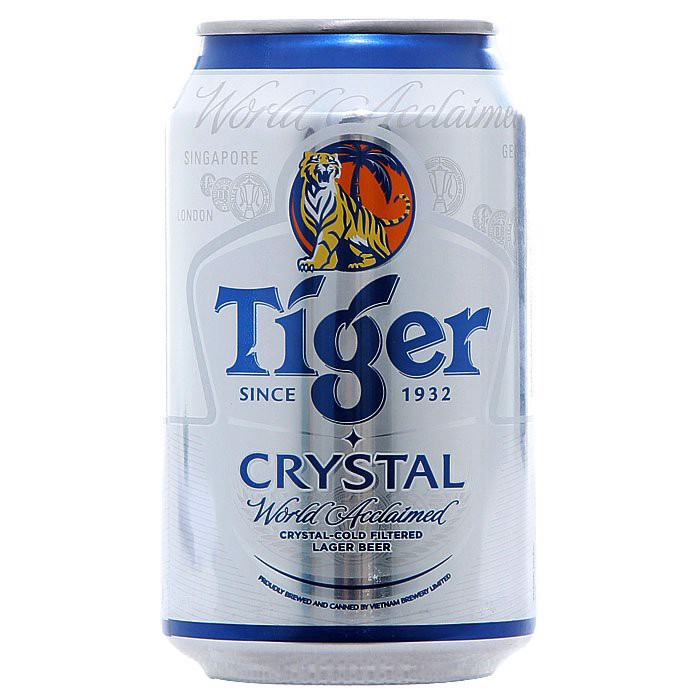 Bia Tiger bạc Crystal lon 330ml