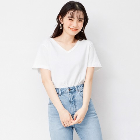 Áo Thun Cotton Nữ GU Color Tee V-Neck