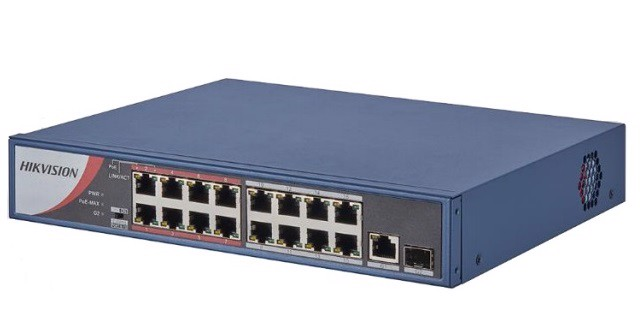 Switch mạng 16 cổng PoE 100M, 2 cổng uplink 10/100/1000M , Layer 2 DS-3E0318P-E(B)