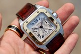 Cartier Santos 100 Chronograph Automatic 18k Gold/Steel W20091X7