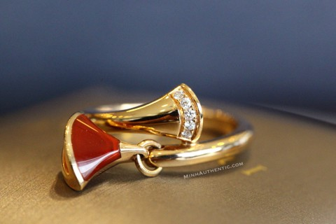 Bvlgari Diva's Dream Ring 18k Rose Gold/Diamond/Carnelian AN857404