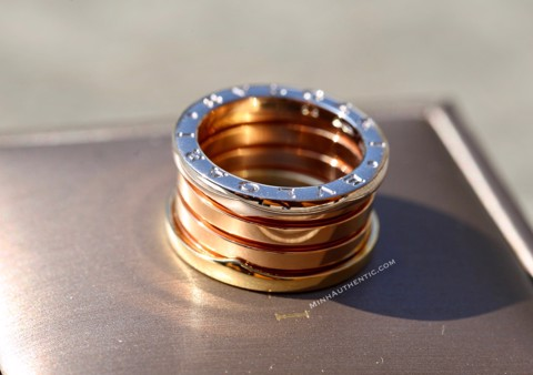 Bvlgari B.zero1 4-band 18k White/Rose/Yellow Gold Ring AN857650