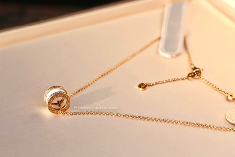 Bvlgari B.zero1 Necklace 18k Rose Gold/Ceramic/Diamond CL856794