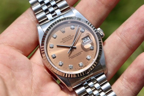 Rolex Datejust 18k White Gold/Steel Salmon Dial 16234