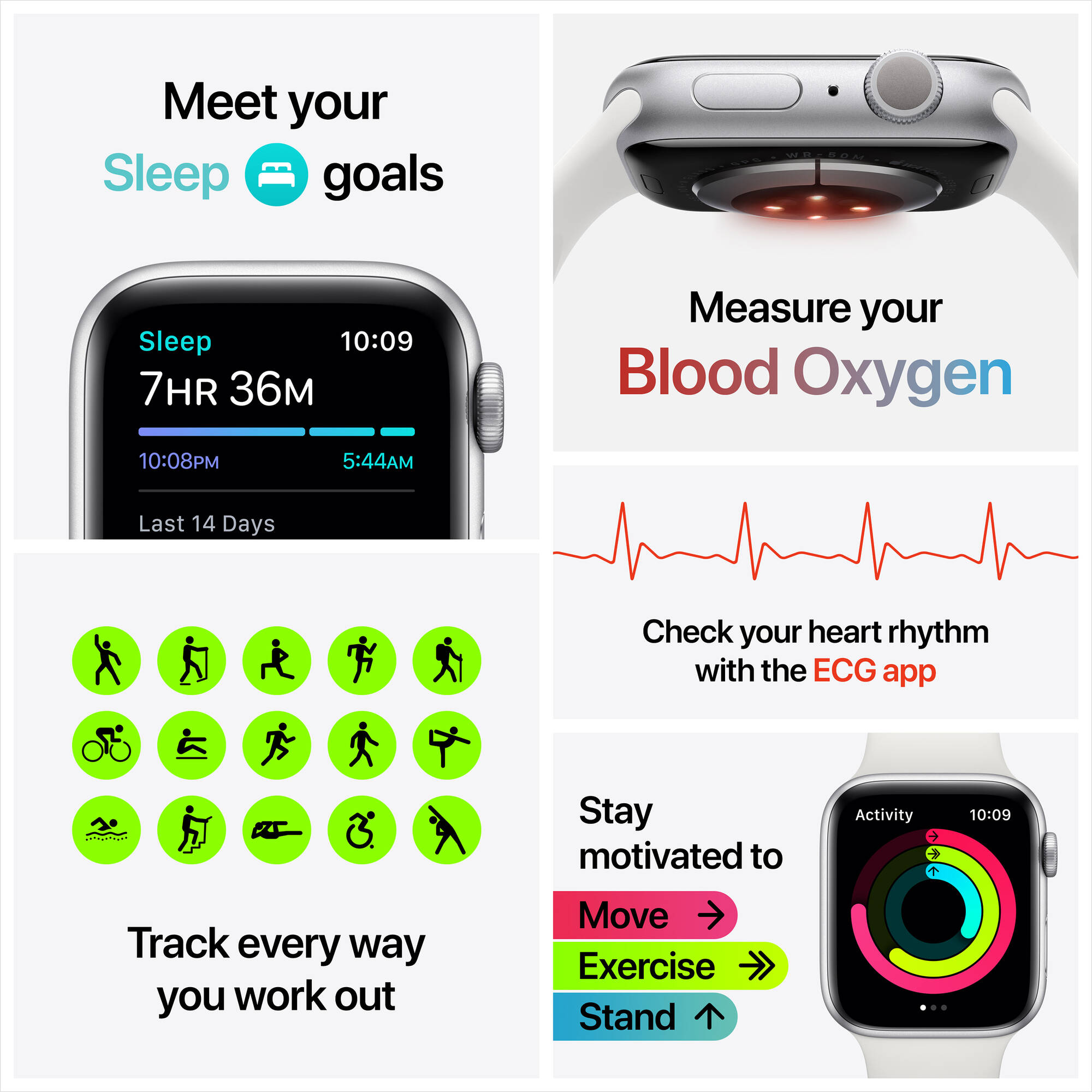 Apple Watch Series 6 GPS, Silver Aluminium Case with White Sport Band
