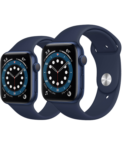 Apple Watch Series 6 GPS, Blue Aluminium Case with Deep Navy Sport Band