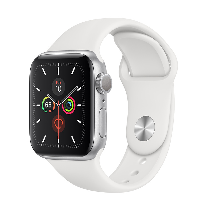 Apple Watch Series 5 (GPS) - Silver Aluminum Case with White Sport Band