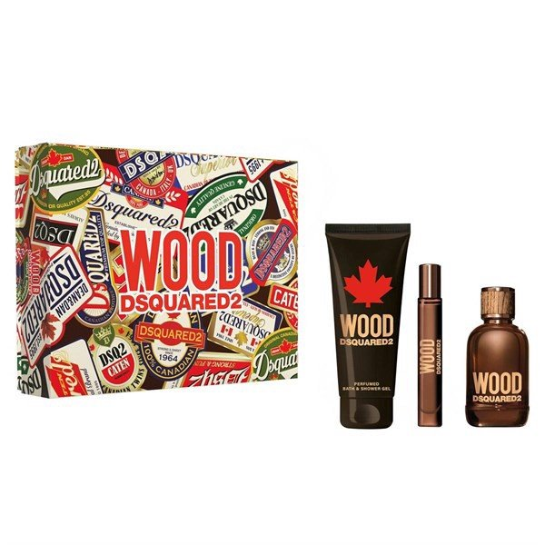 Gift Set Dsquared2 Wood For Him 3pcs ( EDT 100ml & EDT 10ml & SG 150ml )