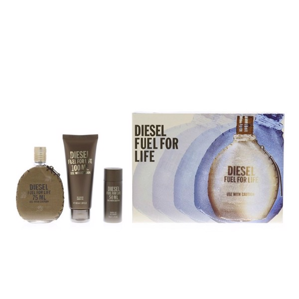 Gift set Diesel Fuel For Life use with caution 3pcs (EDT 75ml + GD 100ml + SG 50ml)
