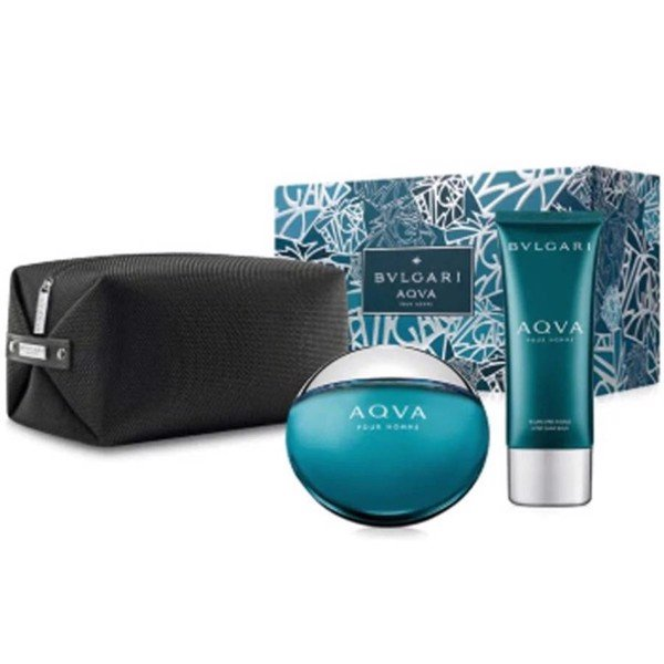 Gift Set Bvlgari Aqva Pour Homme 3pcs ( EDT 100ml & After Shave 100ml & Túi )