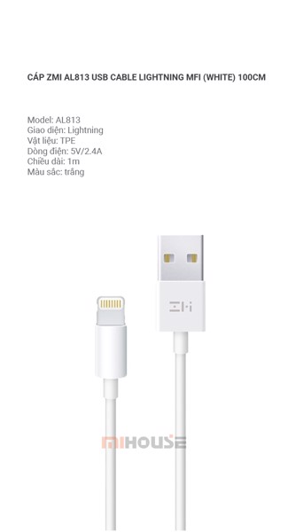 Cáp ZMI AL813 USB Cable Lightning MFI (White) 100cm