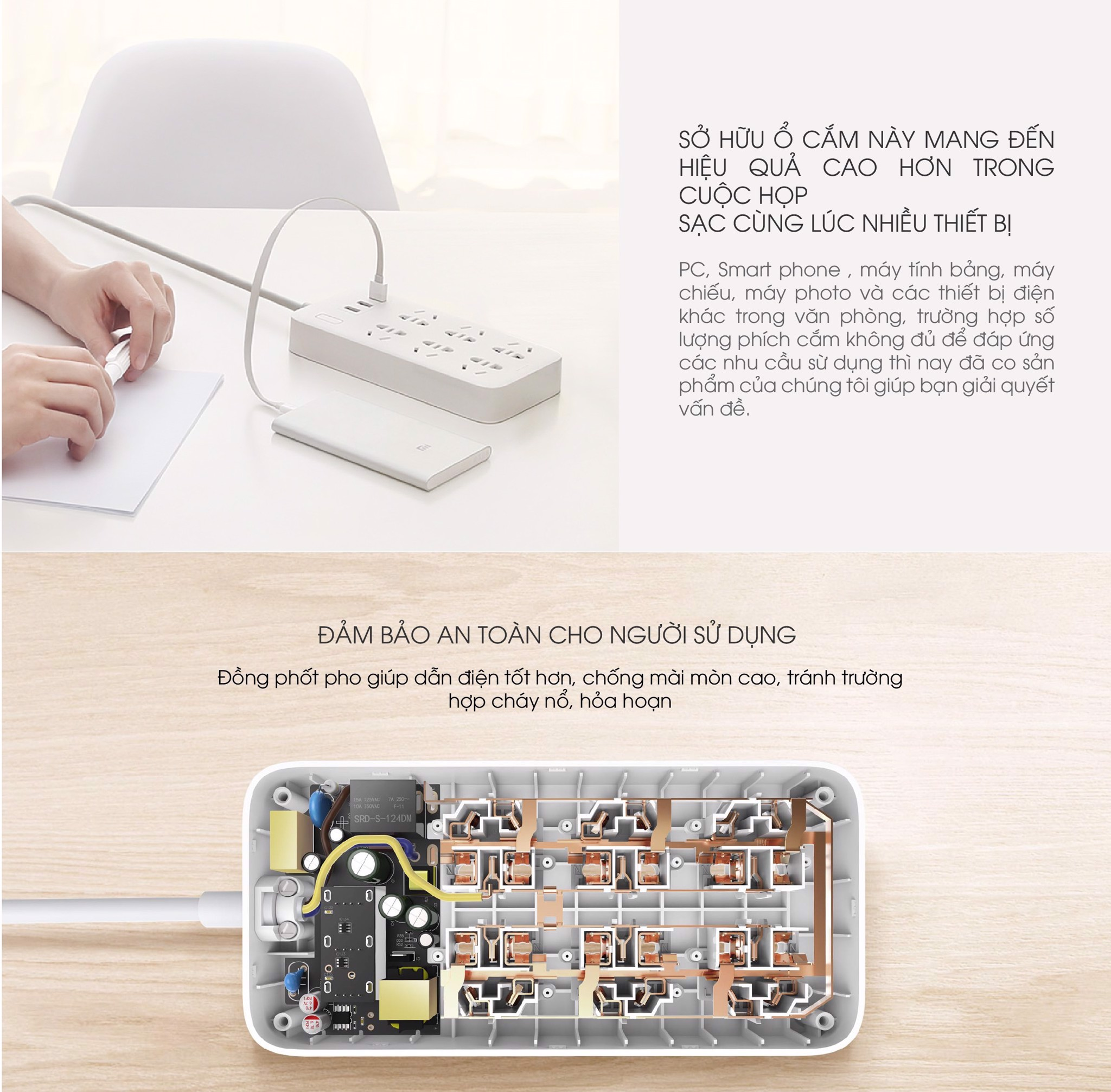 Ổ Cắm Điện 6 Plug-in 3-port USB Power Strip