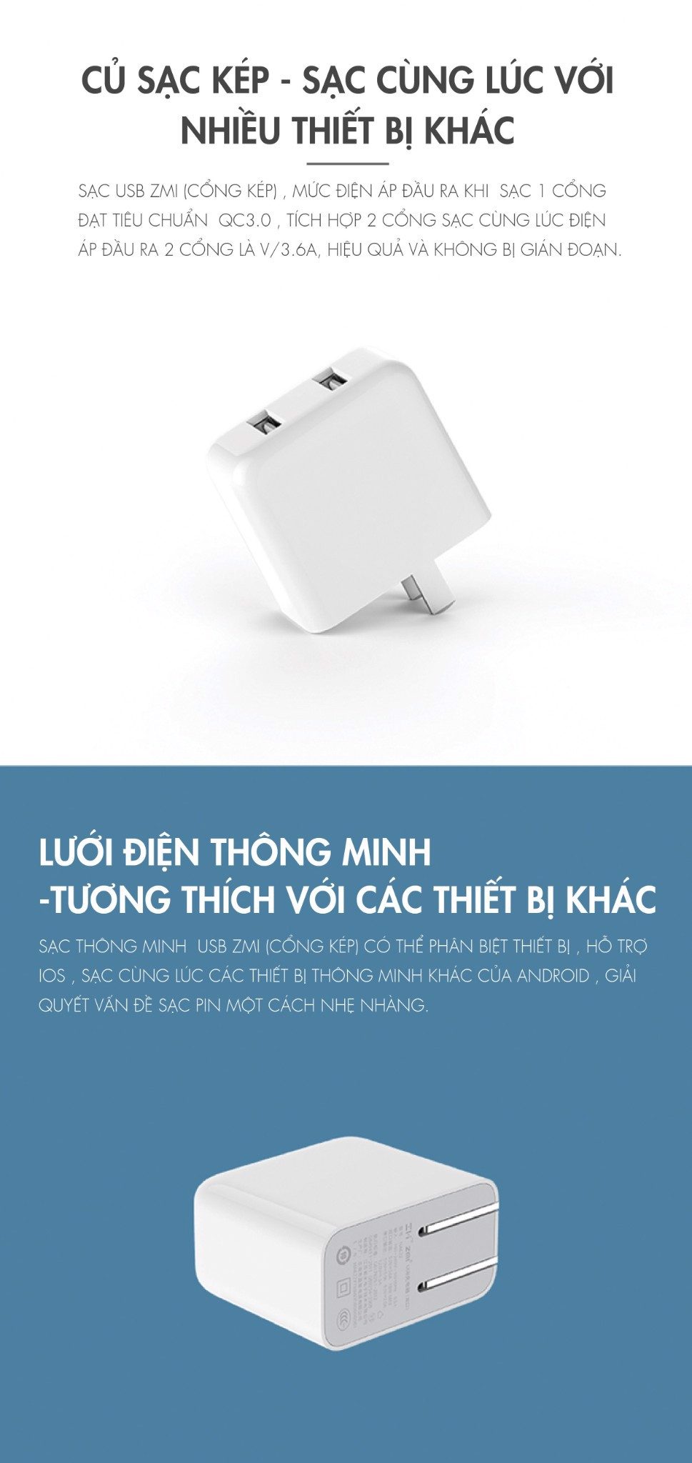 Adapter Sạc Nhanh 2USB QC 3.0 ZMI HA622 / Mi Quick Charger Adapter