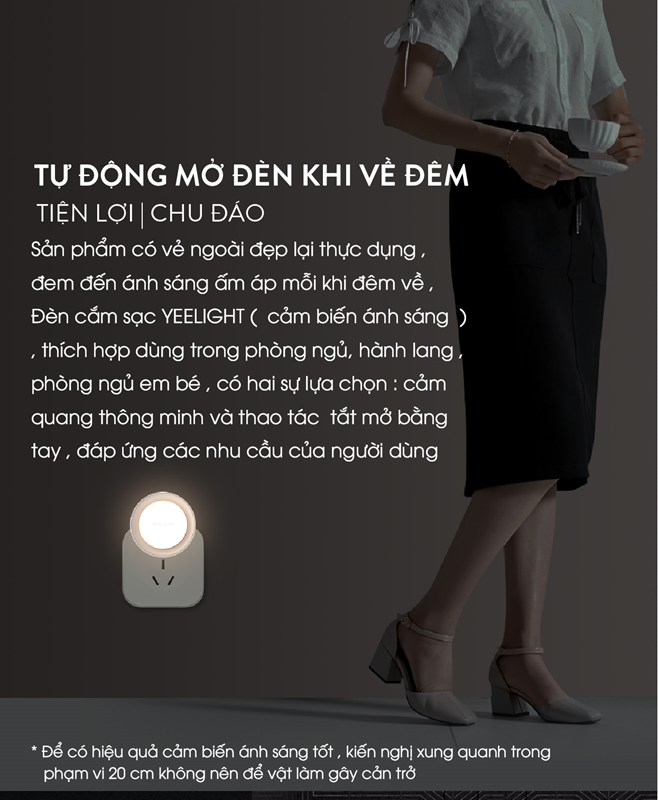 Đèn cảm biến ánh sáng Xiaomi Yeelight - Cắm Điện / Yeelight Rechargeable Night Light (International Edition)