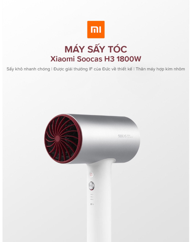 Máy sấy tóc Xiaomi Soocas H3 1800W / Soocas 1800W Double Negative Ions Hair Dryer