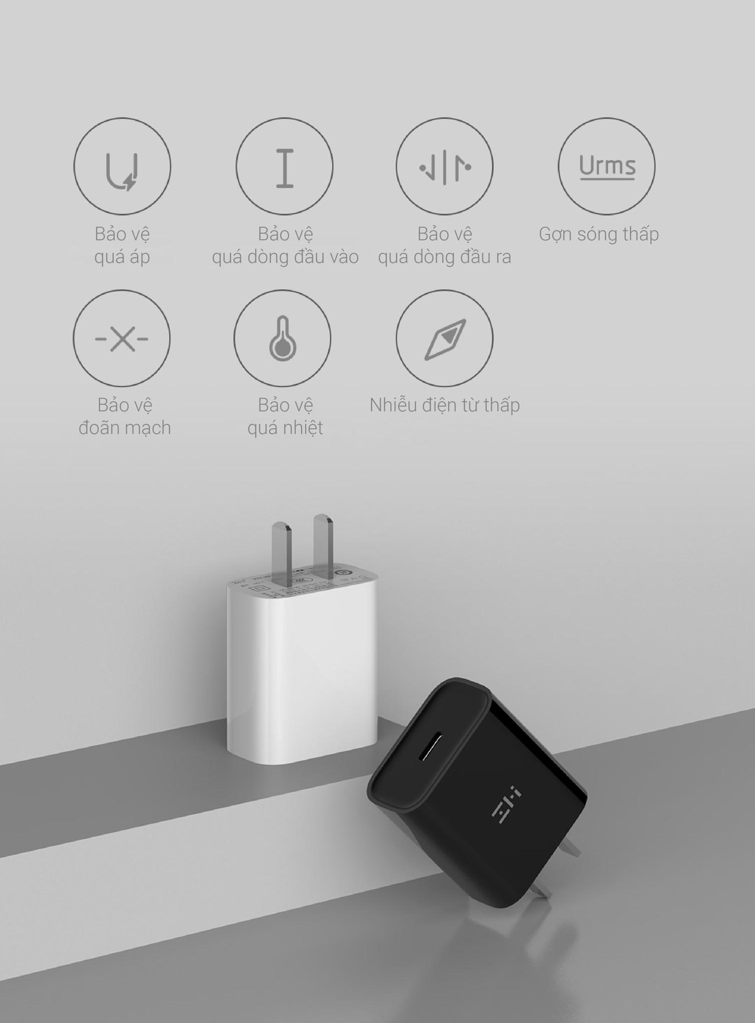 Adapter Sạc Nhanh ZMI HA711 USB Type-C 18W (White)