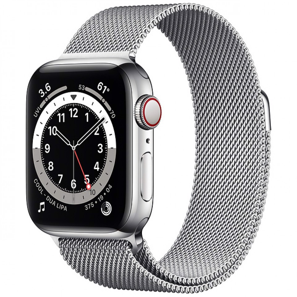 Apple Watch Series 6 44mm Stainless Steel with Silver Milanese Loop Cellular