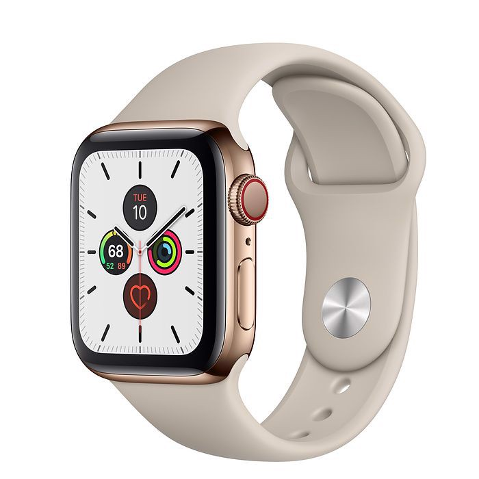 Apple Watch Series 5 Gold Stainless Steel Case Stone Sport Band 44mm