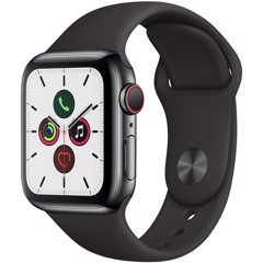Apple Watch Series 5 Space Gray Aluminum Case Black Sport Band 44mm