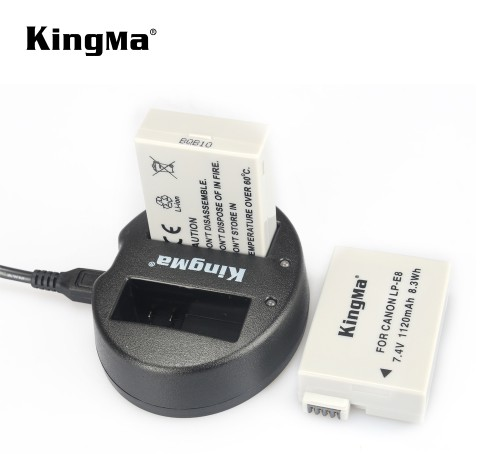 Bộ 2 pin + 1 sạc Kingma for Canon E8
