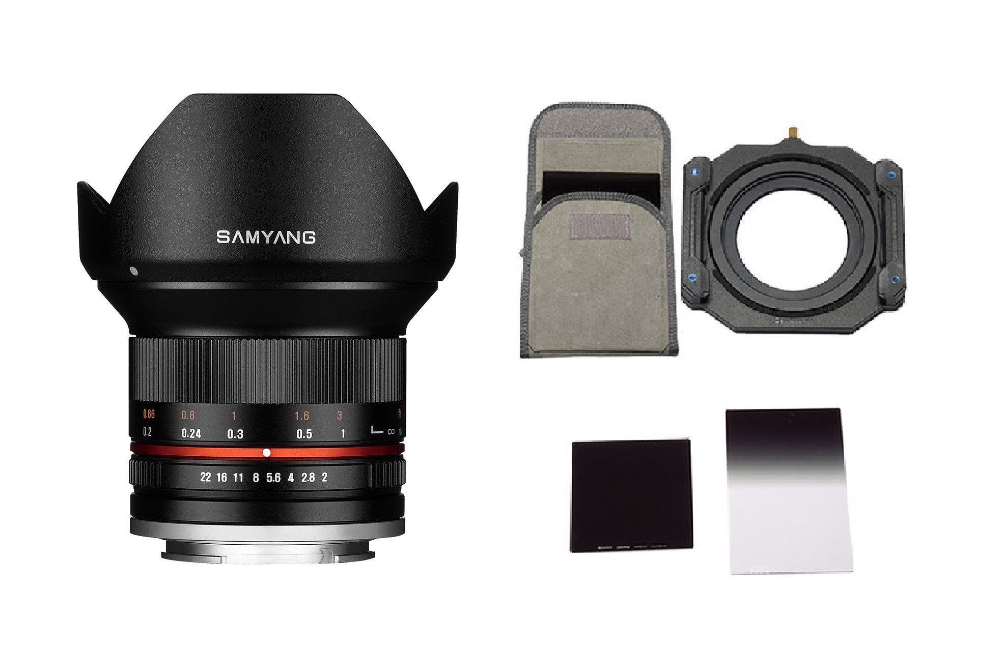 Samyang 12mm F2.0 NCS + Bộ Filter Holder Benro FU100VN1