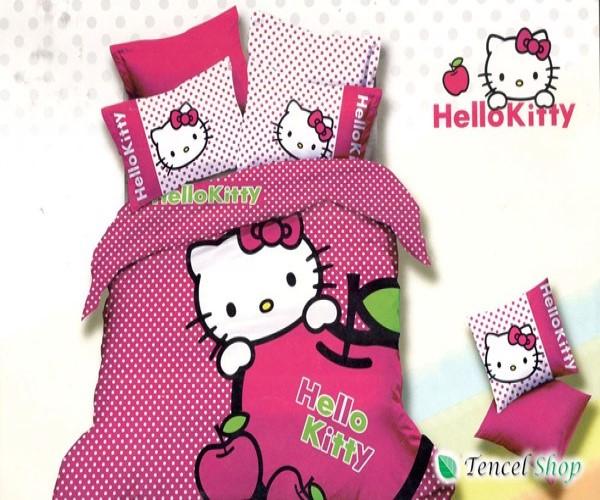 Bộ chăn ga gối cotton lụa hình Hello Kitty   - CTL 1102