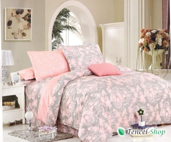 Bộ chăn ga gối cotton nhung cao cấp hoa ghi hồng