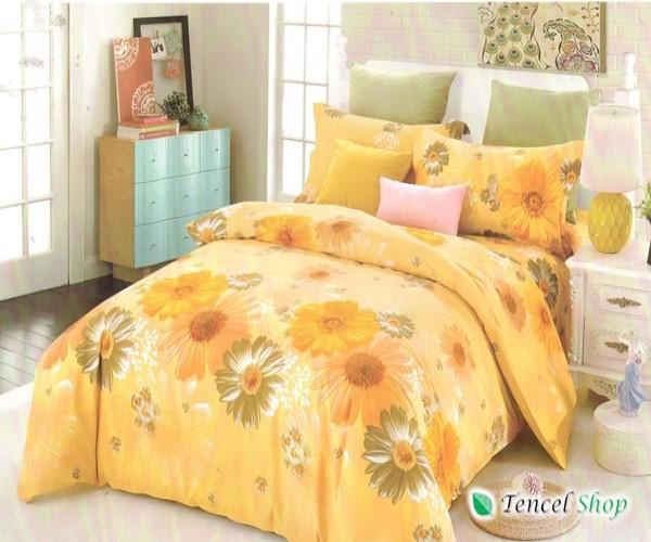 Bộ chăn ga gối cotton nhung cao cấp hoa vàng