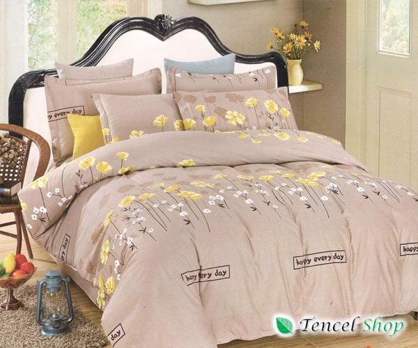 Bộ chăn ga gối cotton lụa Hàn Quốc hoa nâu   - CTL 1185