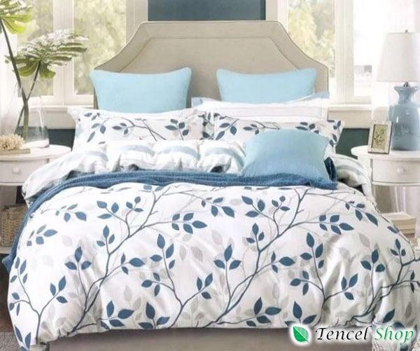 Bộ vỏ chăn ga gối cotton 100% hoa kẻ xanh - CT 1272