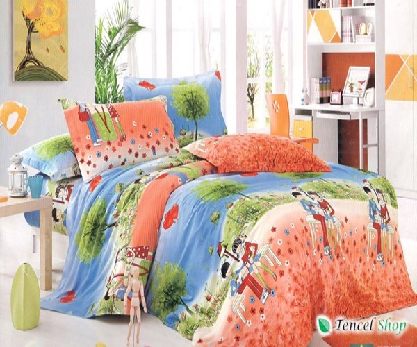 Bộ cotton nhung hoạt hình trẻ em giường đơn TNM 01
