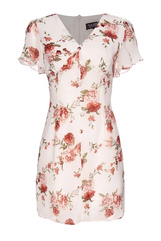 Đầm Hoa Cổ V Tay Loe - V Neck Short Sleeves Floral Dress