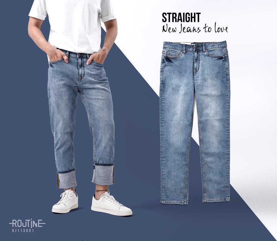 Quần Jean Nam co giãn form Straight - QJ113001