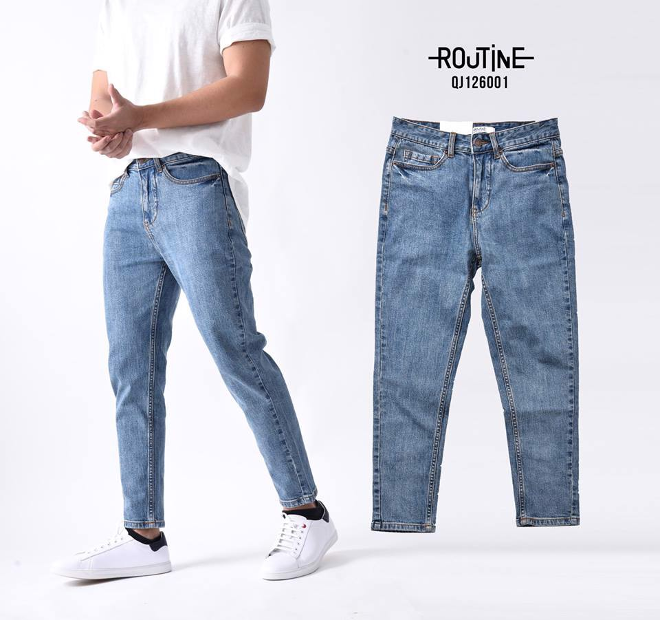 Quần Jean Nam co giãn form Slim Carrot - QJ126001