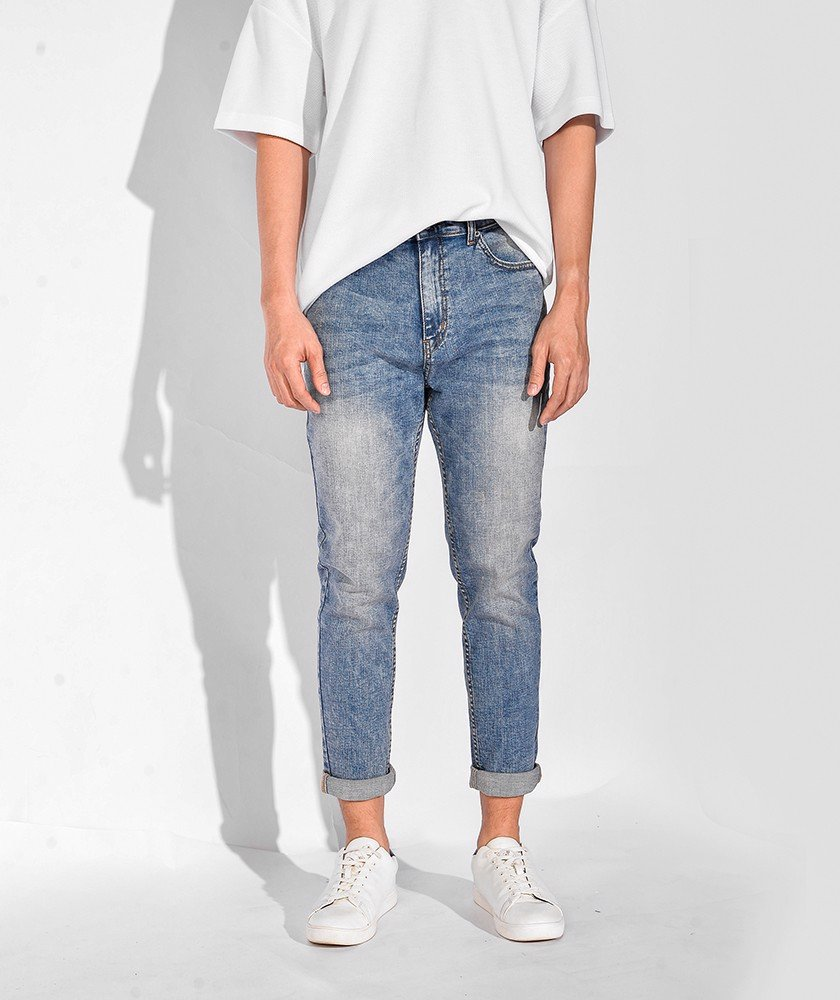 Quần Jeans Nam Form Slim Cropped 10S20DPA016