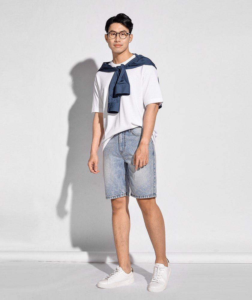 Quần Short Jean Nam Form Straight 10S20DPS001